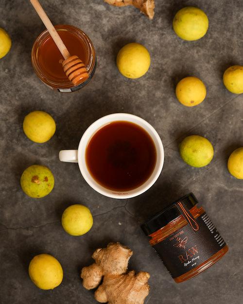 Natural Raw Linden Honey and lemons