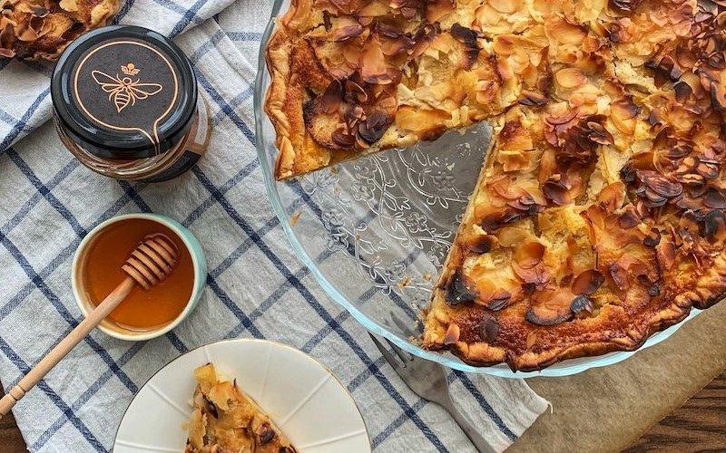 homemade apple tart with honey